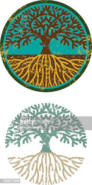 grunge circular tree - root stock illustrations, clip art, cartoons, & icons