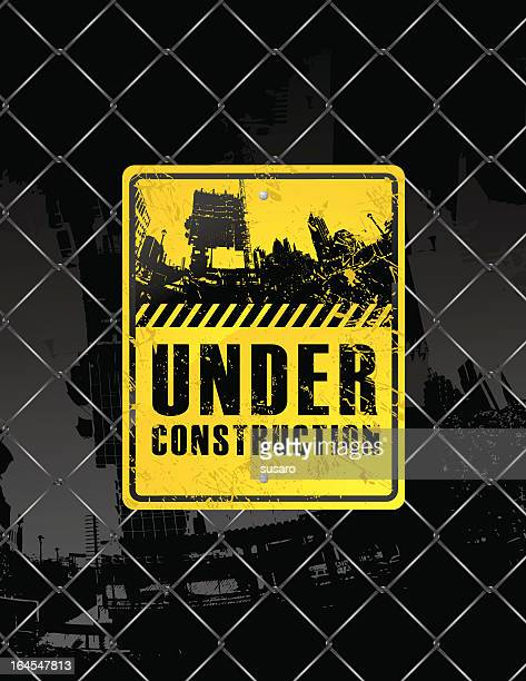 grunge construction sign - wire mesh fence stock illustrations