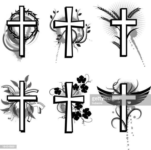 ilustrações de stock, clip art, desenhos animados e ícones de coleção preto grunge cross & branco vector conjunto de ícones - folha de parreira