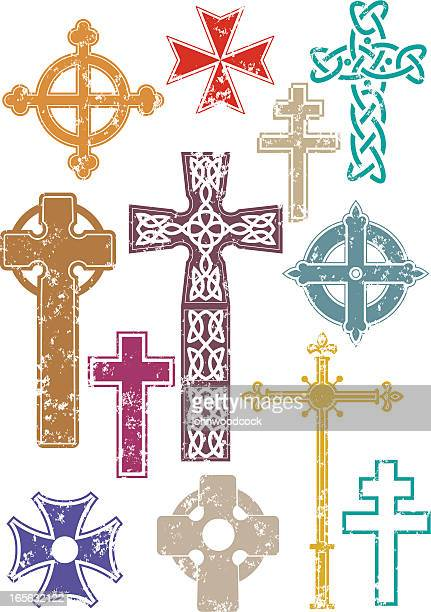 grunge crosses - celtic cross stock illustrations, clip art, cartoons, & icons