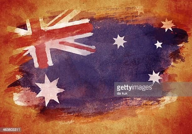 grunge flag of australia - australian flag stock illustrations