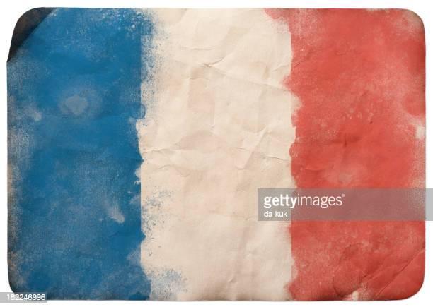illustrations, cliparts, dessins animés et icônes de drapeau de grunge de france - drapeau français