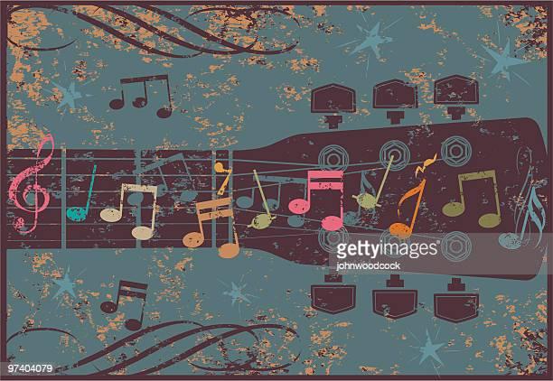 grunge guitar head - music symbols stock illustrations, clip art, cartoons, & icons
