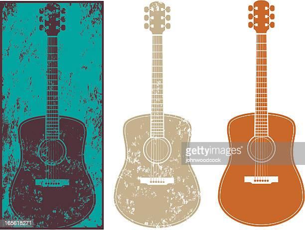 grunge guitar three - guitar stock illustrations