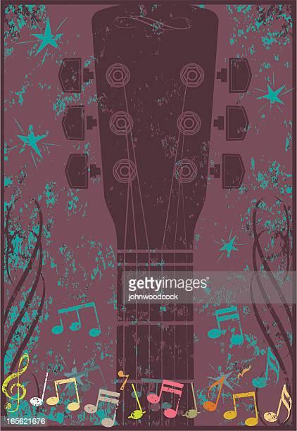 grunge guitar vertical - music symbols stock illustrations, clip art, cartoons, & icons