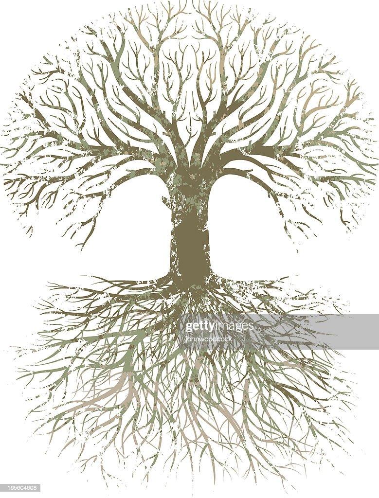 Grunge large tree roots. : stock illustration