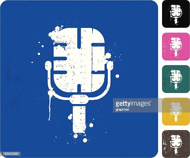 grunge microphone icon - drop the mic stock illustrations