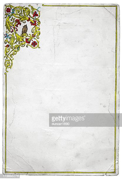 grunge paper owl frame - high key stock illustrations, clip art, cartoons, & icons