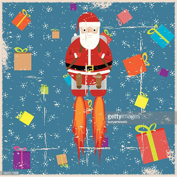 grunge santa claus and christmas gifts - arugula stock illustrations, clip art, cartoons, & icons