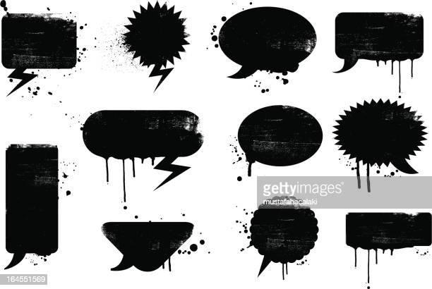 grunge-sprechblasen - graffito stock-grafiken, -clipart, -cartoons und -symbole