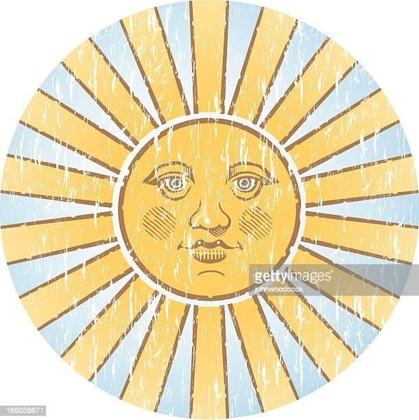 ilustraciones, imágenes clip art, dibujos animados e iconos de stock de grunge sol dos - sol en la cara
