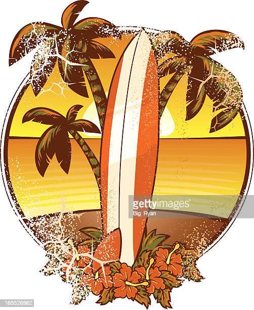 ilustraciones, imágenes clip art, dibujos animados e iconos de stock de grunge tabla de surf - tabla de surf