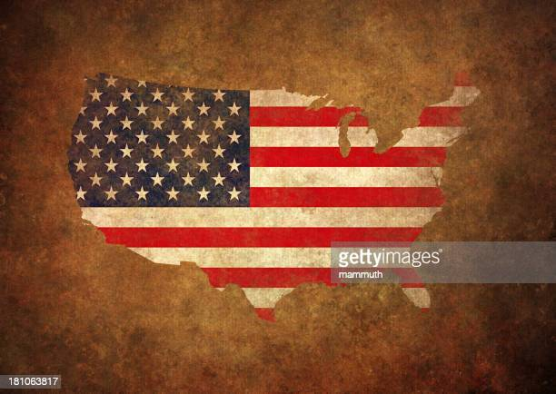 grunge usa map and flag - run down stock illustrations, clip art, cartoons, & icons
