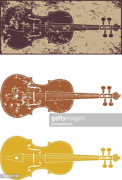 grunge violin - violin stock illustrations, clip art, cartoons, & icons