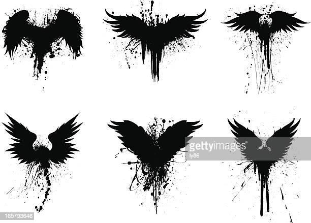 ilustrações, clipart, desenhos animados e ícones de asas grunge - asa animal