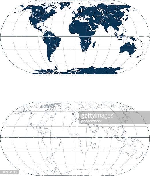 grunge world mono map. - latitude stock illustrations