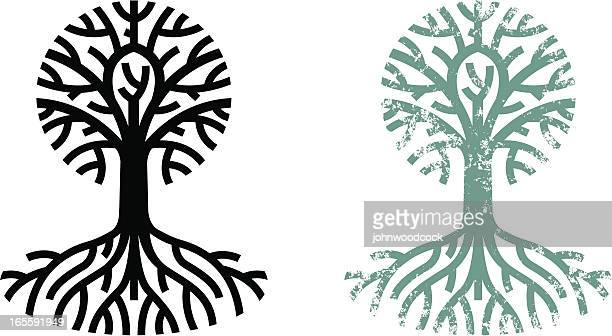 grungy tree and roots - root stock illustrations, clip art, cartoons, & icons