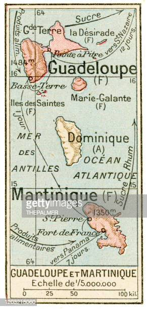 guadeloupe and martinique map 1887 - martinique stock illustrations