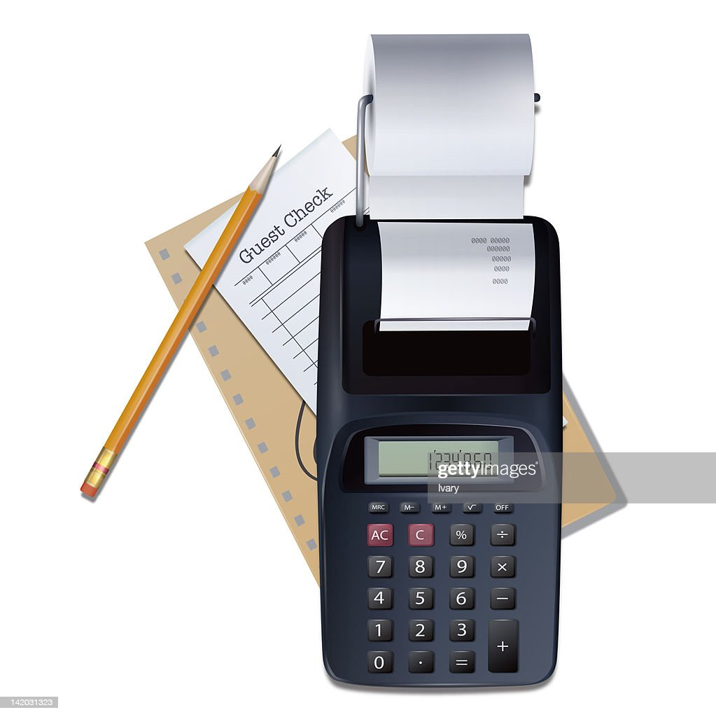 Guest check with card reader and pencil : stock illustration