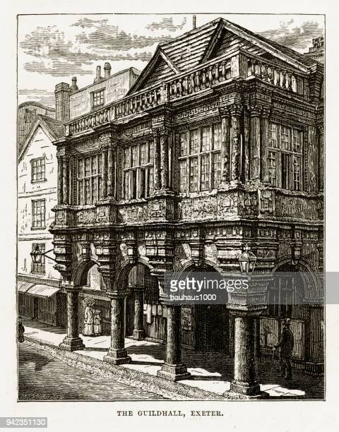 guildhall in exeter, devon, england victorian engraving, 1840 - exeter england stock illustrations