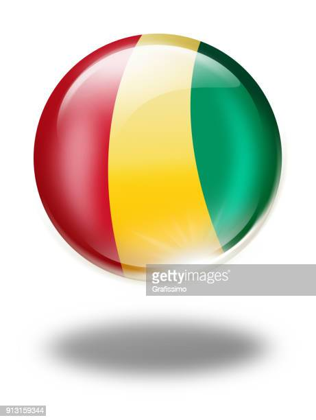 Guinea button with flag isolated on white