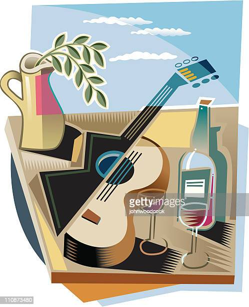 illustrations, cliparts, dessins animés et icônes de guitare et vin - cubisme