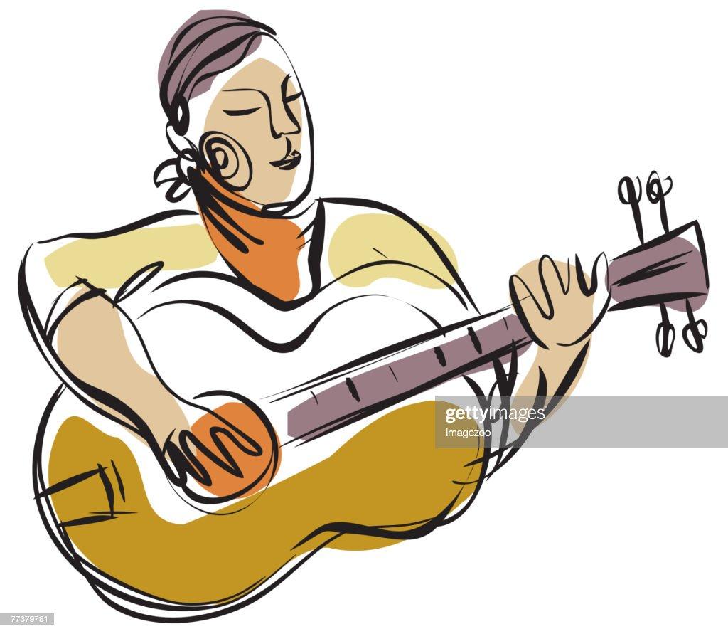 guitar player : Ilustração de stock