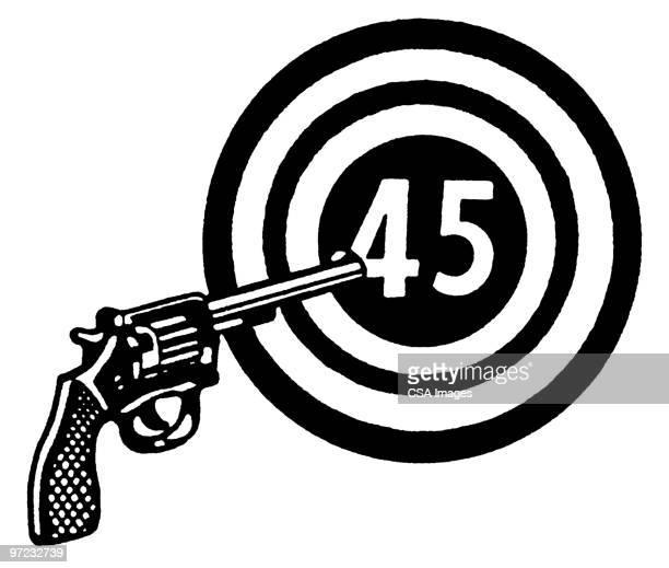 gun and target - sports target stock illustrations