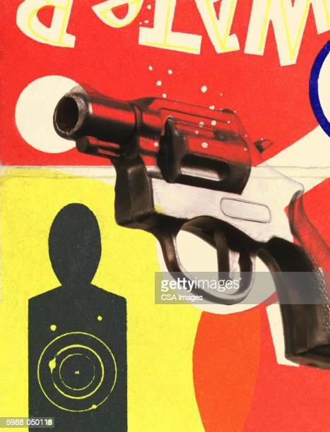 gun, shooting range target - sports target stock illustrations