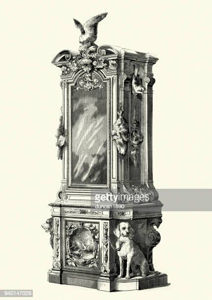 guncase or gun cabinet, mid victorian - display cabinet stock illustrations, clip art, cartoons, & icons