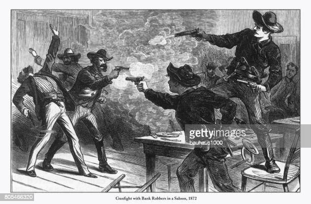 Gunfight with Bank Robbers in a Saloon Engraving, 1872