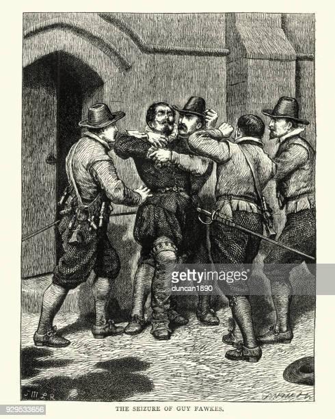 gunpowder plot, guy fawkes being arrested - guy fawkes stock illustrations
