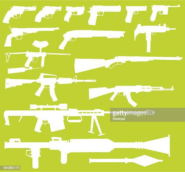 ilustraciones, imágenes clip art, dibujos animados e iconos de stock de pistolas - ak 47