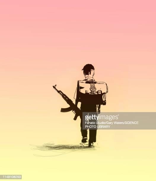 ilustrações de stock, clip art, desenhos animados e ícones de guns in schools, conceptual illustration - metralhadora
