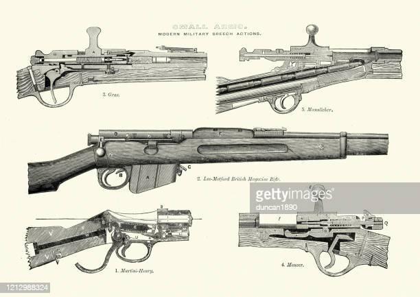 guns, military breech action rifles. victorian 19th century - gun barrel stock illustrations