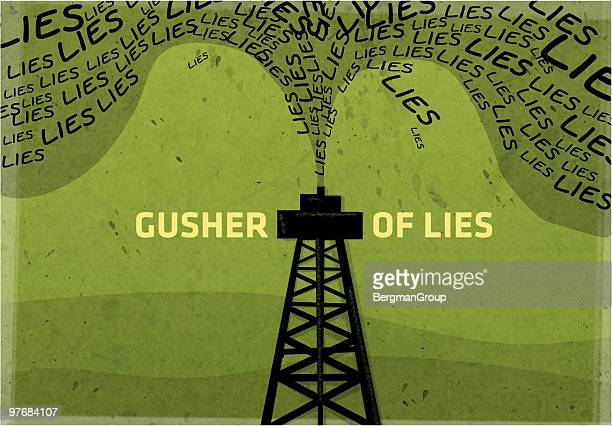 gusher of lies - falsenews stock illustrations