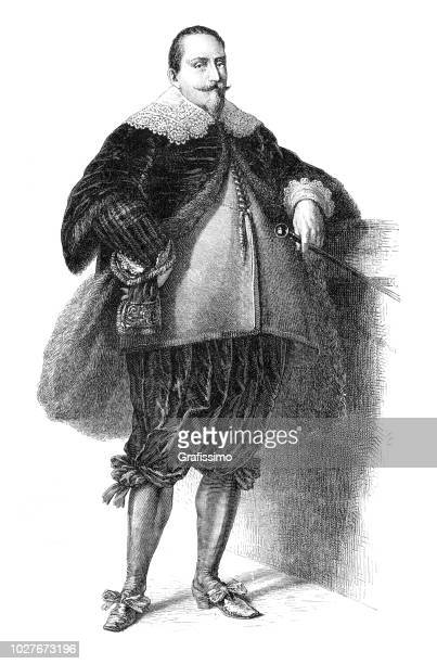 Gustav II Adolf King of Sweden portrait illustration