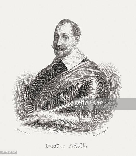 Gustav II Adolf (1594-1632), steel engraving, published in 1868