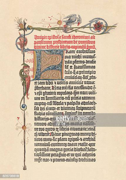 Gutenberg Bible, 42-line Bible (1452/54), lithograph, published in 1882