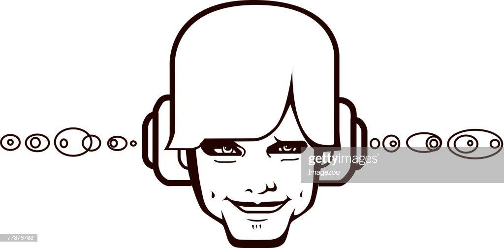 guy wearing headphones : Illustration