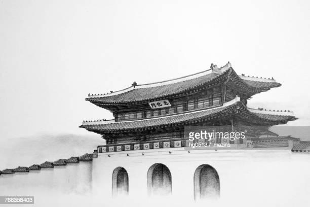 gwanghwamun gate pencil drawing - seoul stock illustrations, clip art, cartoons, & icons