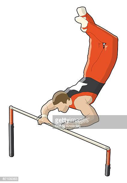 stockillustraties, clipart, cartoons en iconen met gymnast holding onto bar with one hand, legs up in the air - match sport