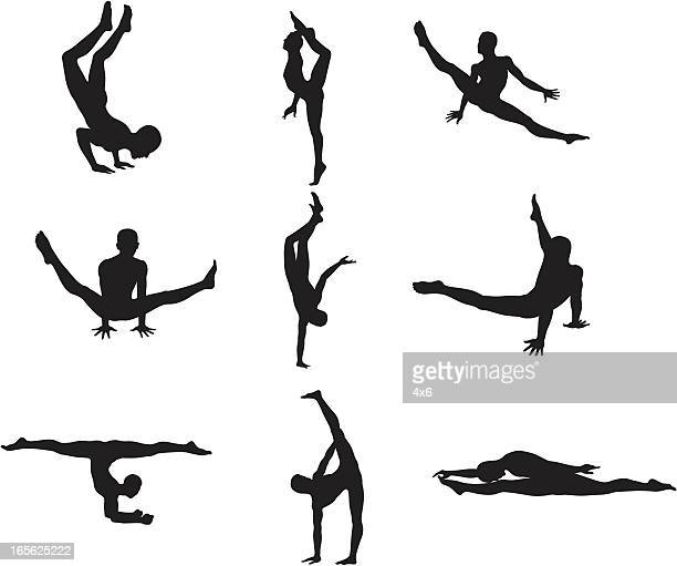 gymnast silhouettes - gymnastics stock illustrations, clip art, cartoons, & icons