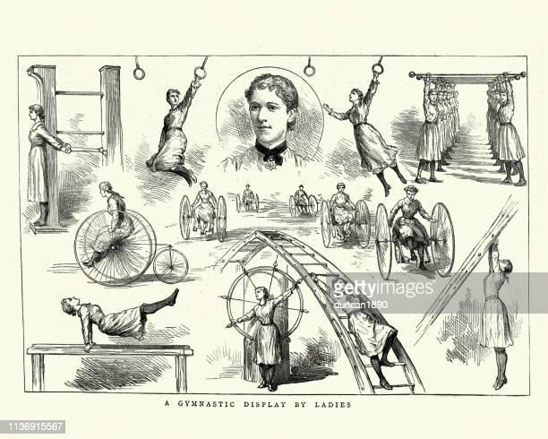 illustrations, cliparts, dessins animés et icônes de affichage de gymnastique par dames, victorien, 19ème siècle - gymnastique sportive