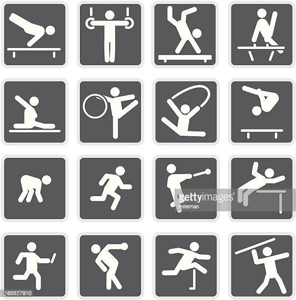 gymnastics & athletics | matte collection - discus stock illustrations, clip art, cartoons, & icons