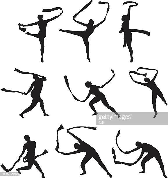 gymnastics dance routine with ribbon - contortionist stock illustrations