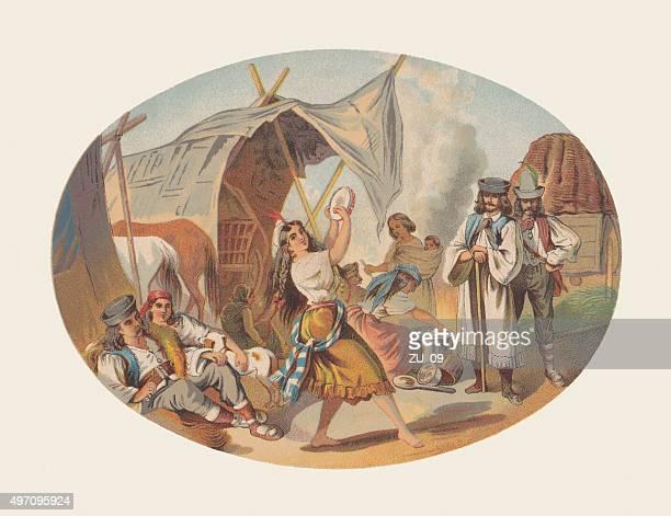ilustrações de stock, clip art, desenhos animados e ícones de cigano campo com uma dança menina, litografia, publicada em 1872 - pandeiro
