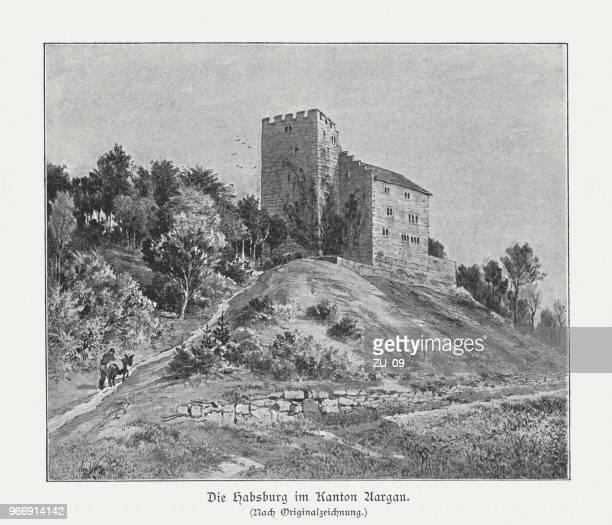 habsburg castle, canton of aargau, switzerland, raster print, published 1897 - hapsburg dynasty stock illustrations