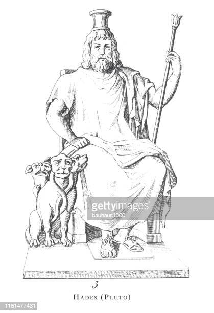 illustrations, cliparts, dessins animés et icônes de hades (pluton), gods and mythological characters engraving antique illustration, publié en 1851 - dieu
