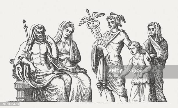 ilustraciones, imágenes clip art, dibujos animados e iconos de stock de pluto, proserpina y mercurio - roman goddess